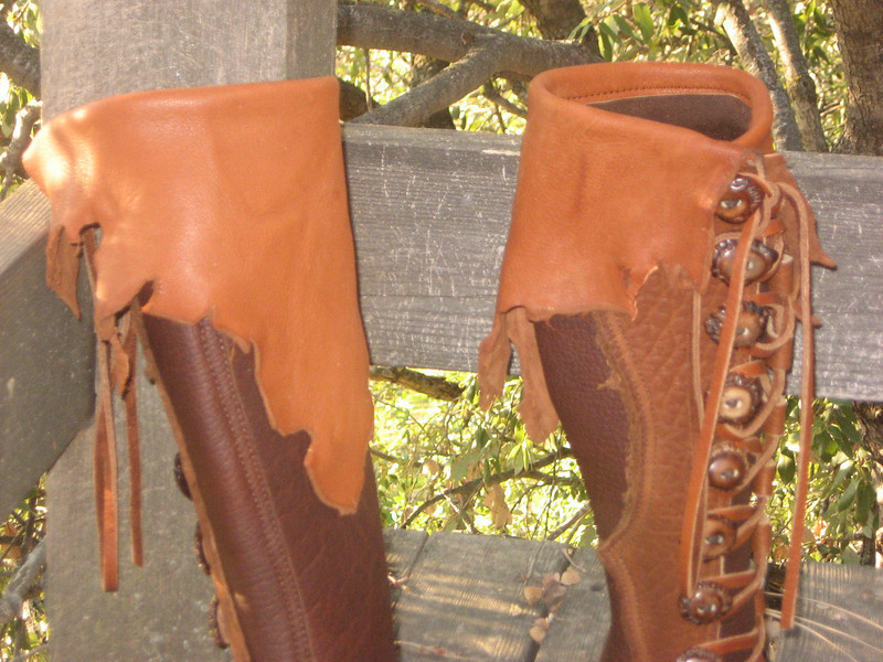 Natural Edge Deerskin Flap made out of Burnt Cork Deerskin, on a Nine Button Moccasin.  <br /> Button Trim is 'Natural Edge'.<br /> Buttons are Antler Crowns in a Medium Dark Dye.