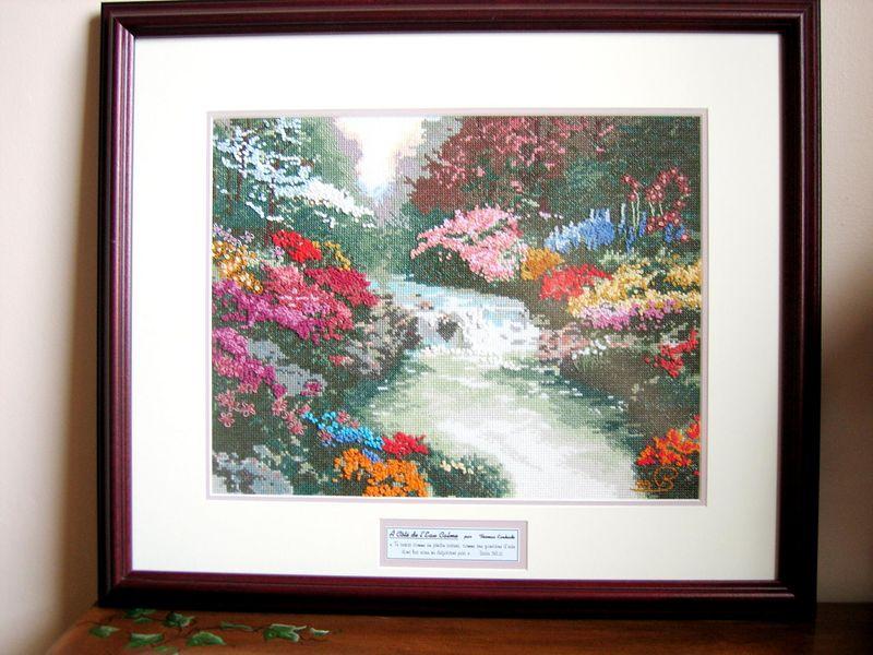 """A Thomas Kincade scenery.  """"Beside still water""""  crosstich ."""