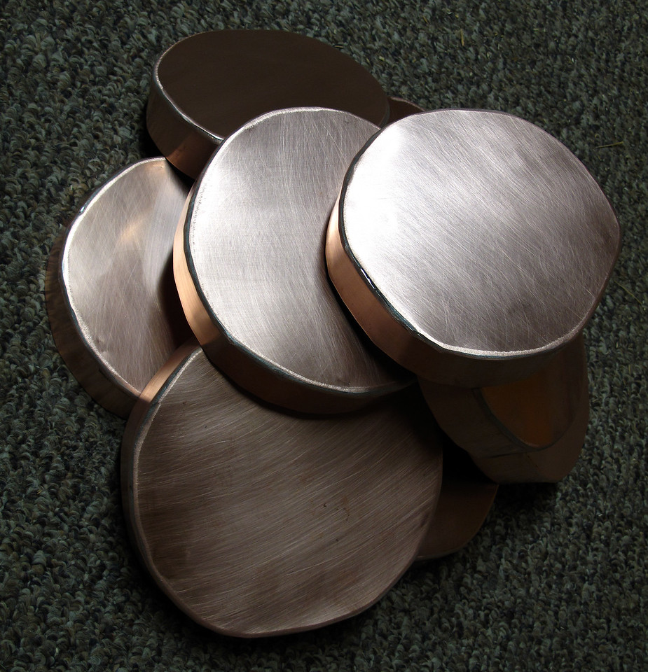 CUSTOM ROUND DECK POST CAPS with 1-1/4 lip - Patinad Copper