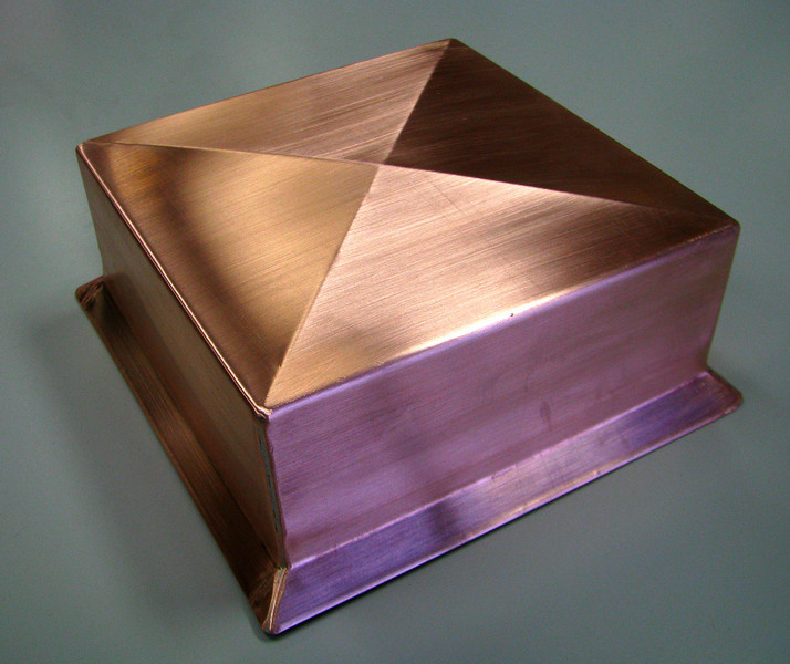 COPPER SQUARE POST CAP with drip edge