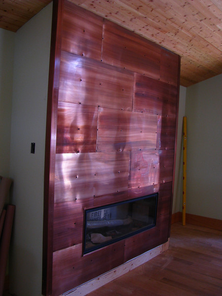Patinad Copper Fireplace