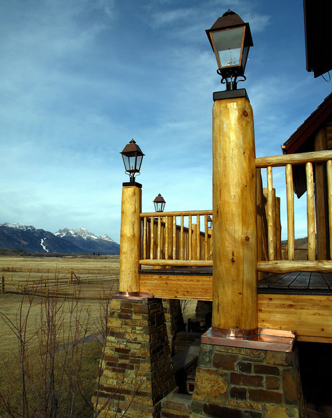 CUSTOM COPPER CAPS - deck post to stone pillar waterproofing. Skyline Ranch, Jackson WY