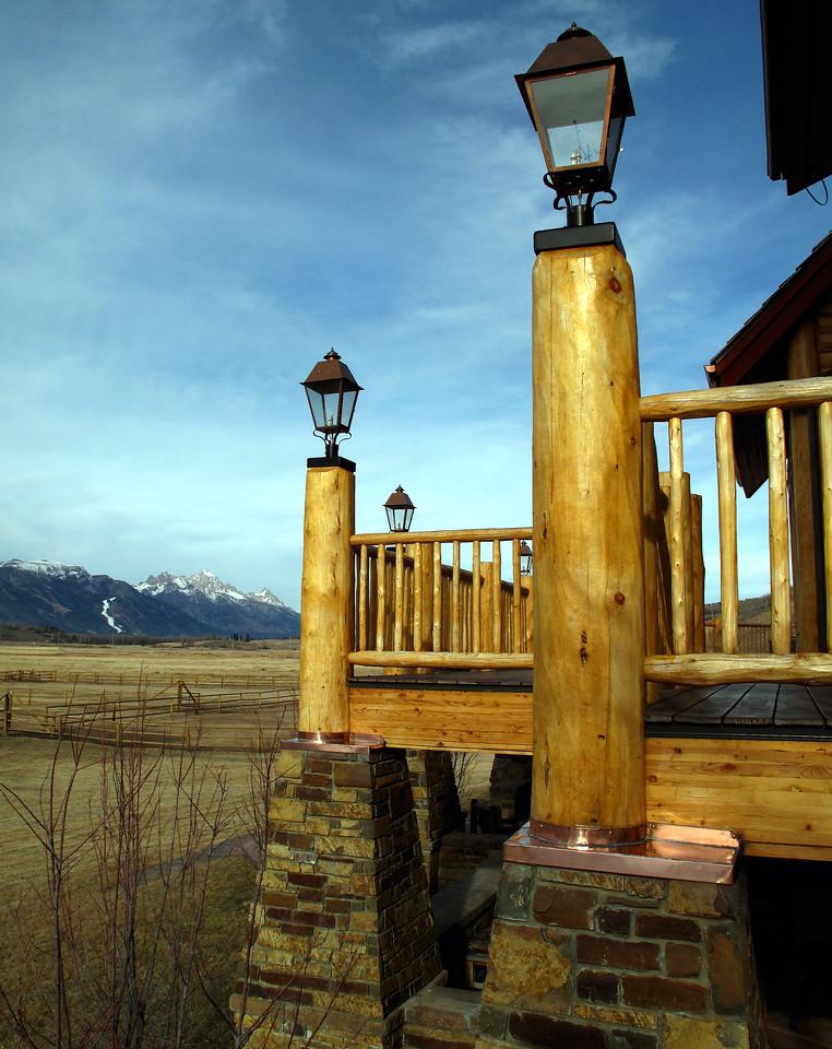 CUSTOM COPPER CAPS - deck post to stone pillar waterproofing. Skyline Ranch, Jackson WY