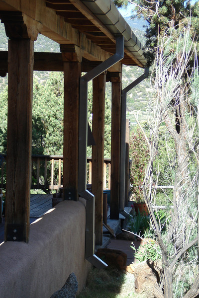 BLACK IRON GUTTER with SQUARE DOWNSPOUTS. Taos NM - with Randy William Cisneros
