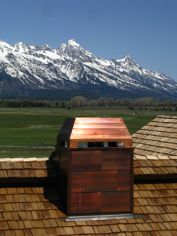 CHIMNEY CAP & SHROUD - Patinad Copper - Jackson, WY