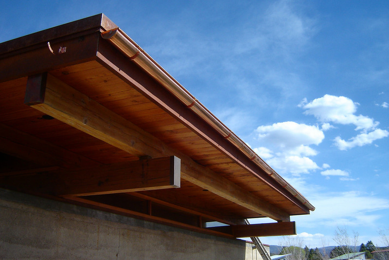 Triple BLACK IRON TRIM all around the roof, COPPER HALF ROUND GUTTER and COPPER BEAM CAPS - with Randy William Cisneros