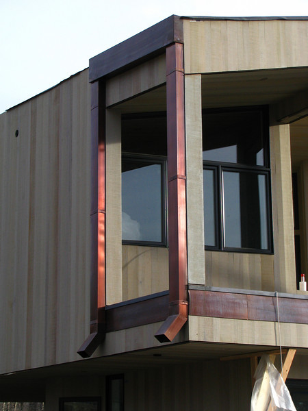 CUSTOM GUTTER with DOWNSPOUTS. Patinad Copper. Jackson WY