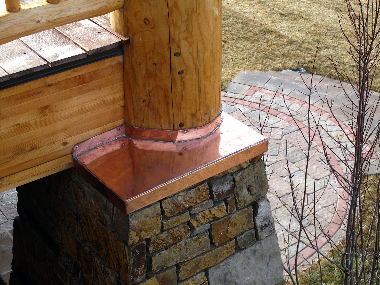 CUSTOM COPPER CAP. Deck post to stone pillar waterproofing. Jackson WY