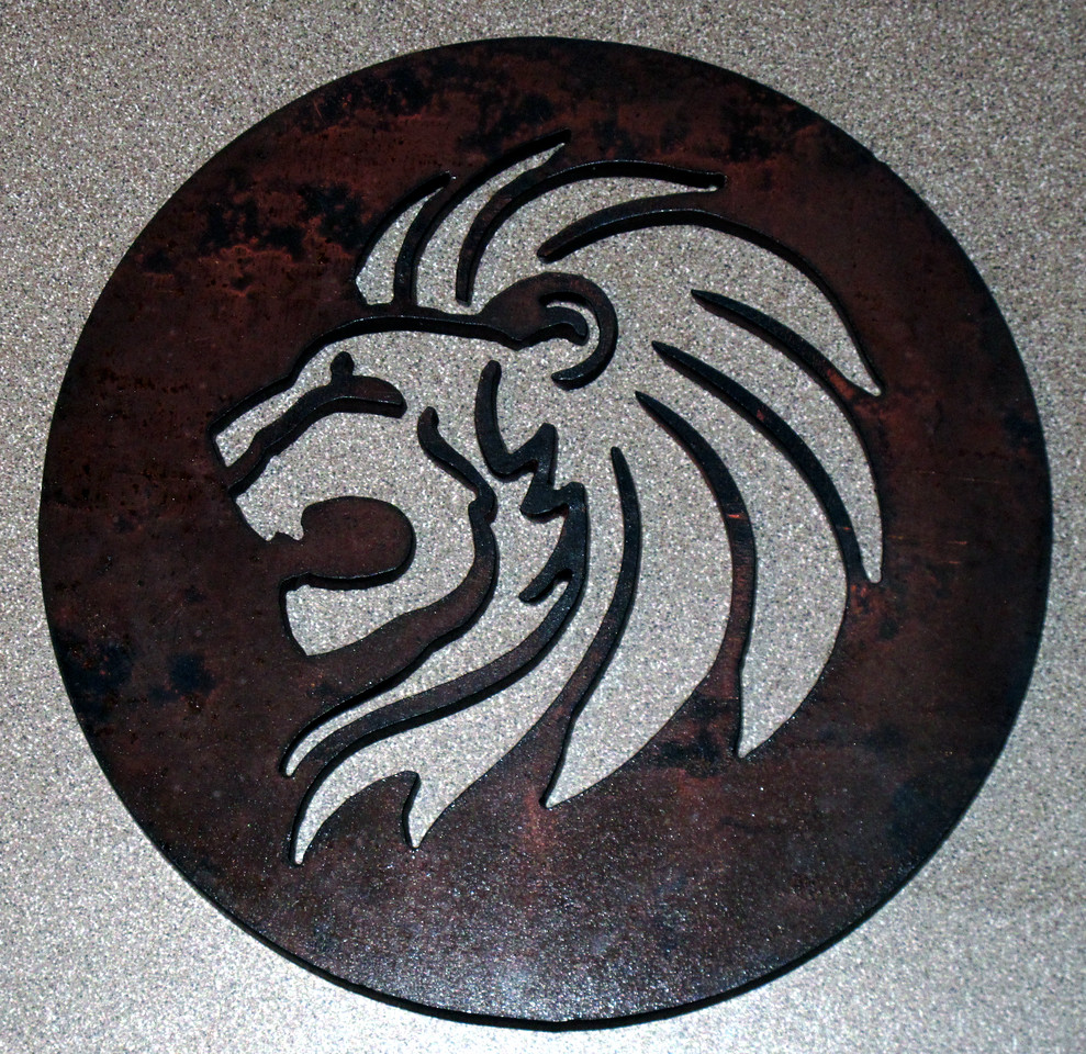"This lion medallion is cut on a CNC machine out of 3/16"" steel"