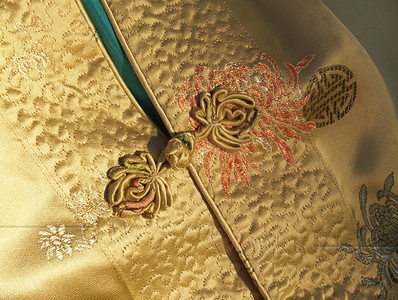 Chinese silk jacket detail with frog closure