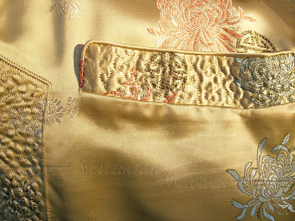 Chinese Gold Silk Jacket Detail with Pocket and Side Stitching