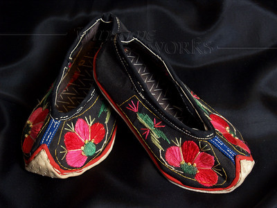 Chinese Baby Shoes with Floral Embroidery (made by Sani people of the Yi Tribe, Yunnan province, China)
