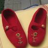 Blue ribbon winners - knit, felted slippers.