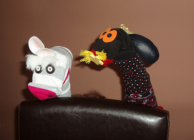 Buster Grey and Daisy Lottsadots the sock friends I made for Lillian