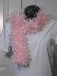 Gracie's Fluffy Pink Scarf (of Doom) Made from Lion Brand Fun Fur in Soft Pink