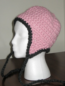 Donation Hat Made from Lion Brand Wool-Ease Thick & Quick in Blossom and Charcoal Pattern Chunky Earflap Hat by Adrienne Engar