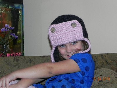 Gracie modeling her Bomber Hat Made from Lion Brand Wool-Ease Thick & Quick in Blossom and Charcoal Pattern Bomber Hat by Adrienne Engar