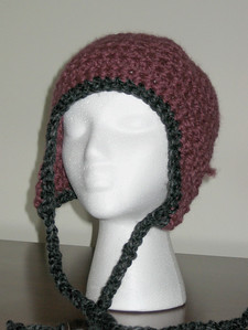 Donation Hat Made from Lion Brand Wool-Ease Thick & Quick in Fig and Charcoal Pattern Chunky Earflap Hat by Adrienne Engar