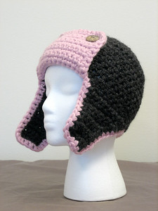 Gracie's Bomber Hat Made from Lion Brand Wool-Ease Thick & Quick in Blossom and Charcoal Pattern Bomber Hat by Adrienne Engar