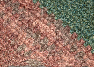 Army Scarf (extreme closeup) Made from Lion Brand Wool-Ease in Mink Brown, Wood Print, and Forest Green Heather Pattern Retro Striped Scarf by Marcy Smith