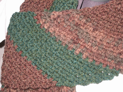Army Scarf (closeup) Made from Lion Brand Wool-Ease in Mink Brown, Wood Print, and Forest Green Heather Pattern Retro Striped Scarf by Marcy Smith
