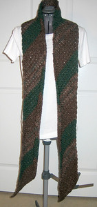 Army Scarf Made from Lion Brand Wool-Ease in Mink Brown, Wood Print, and Forest Green Heather Pattern Retro Striped Scarf by Marcy Smith