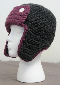 Shania's Bomber Hat Made from Lion Brand Wool-Ease Thick & Quick in Fig and Charcoal Pattern Bomber Hat by Adrienne Engar