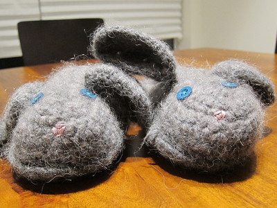 Bunny Slippers Made from Cascade Pastaza in gray and Classic Elite La Gran in steel gray Pattern Fluffy Bunny Slippers by Shannon Murphree