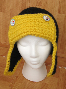 Connie's Steelers Bomber Hat Made from Lion Brand Hometown USA in Oakland Black and Pittsburgh Yellow Pattern Bomber Hat by Adrienne Engar