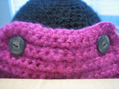 Michelle's Da Bomb Hat Made from Lion Brand Jiffy in Shocking Pink and Black Pattern Bomber Hat by Adrienne Engar