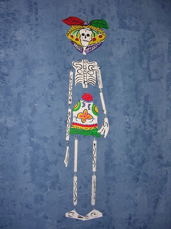 "Articulated wooden skeleton made by ""Great Master"" toymaker, Gumercindo Espana Olivares of Santa Cruz de Juventino Rosas, Guanajuato in 2004. For more information, see ""Great Masters of Mexican Folk Art."""