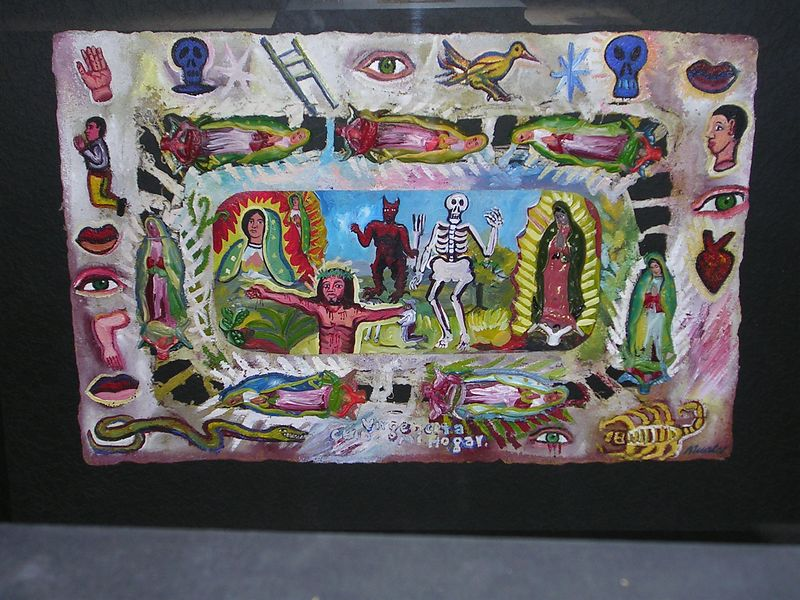 Painting on amate paper by David Macalco of Mexico.  The Virgin of Guadalupe figures are bas relief and may be of plastic or plaster.