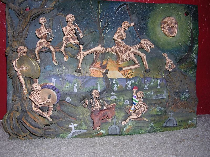 Bas relief clay Day of the Dead scene by master artisan, Dimitrio Aguilar of Oaxaca.