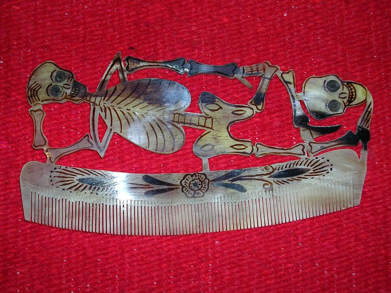 "Hair comb made from animal horn by unknown artisan in San Antonio de la Isla, Mexico.  See ""Arts & Crafts of Mexico"" by Chloe Sayer page 80 & 100 for more information."