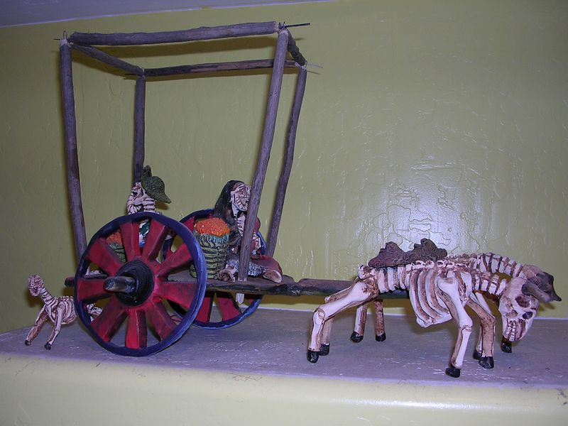 """""""Death Cart"""" by Dimitrio Aguilar of Oaxaca.  Made of clay."""