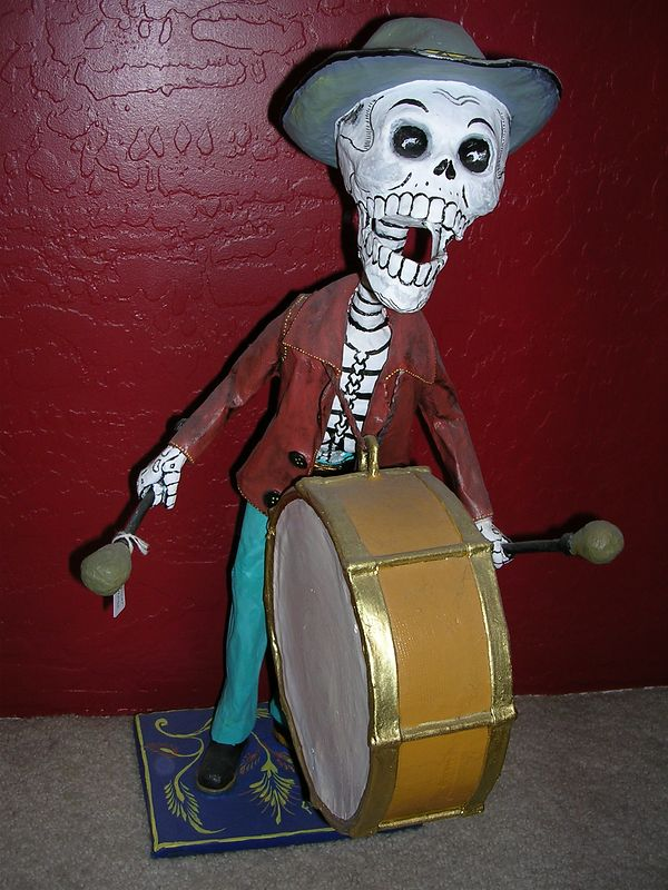"Paper mache calavera drummer by ""Great Master,"" Felipe Linares of Mexico City.  For more information, see ""Great Masters of Mexican Folk Art,"" pages 464-467."