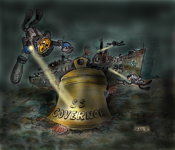 Group of local divers found the ship's bell this weekend July 25, 2011. Depth 237 feet.