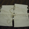 """set of 6 Sew Essentials Bleached Muslin, White. 100% Cotton, Machine wash cool. Hang Dry. Double twine closure. 3 3/8"""" x 3 3/8"""". One set available, $2"""
