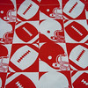 "Close up of material<br /> <br /> Pictured are the 4 8""x9""<br /> <br /> Football Bag Set: Includes 8 bags in total with this red/white football icons.<br /> (1) 4""x6"" single ribbon closure, $.50<br /> (1) 4""x8 3/4"" single ribbon closure, $.50<br /> (4) 8""x9"" double ribbon closure, $1 each<br /> (2) 9""x13"" double ribbon closure, $1 each<br /> <br /> Whole set for $5"