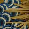 """24 cupcake toppers with 2"""" blue scallop rounds with 1 1/2"""" inner white circles with cookie monster.<br /> one set available, $5"""