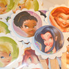 """30 Disney Pixie Hollow Fairies Cake toppers. Already assembled and ready to use. Image is only on one side of the cake topper. Other side is plain white. You can add your own image or saying on the other side. The image itself is raised to create a 3D effect<br /> <br /> Scalloped white circles, 2""""<br /> Inner picture circle of the princess, 1 7/16""""<br /> Images on toppers: 1Silvermist, 8 Iridessa, 10 Tinkerbells, 10 Rosetta<br /> <br /> This set will be $4"""