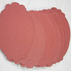 """Set of 50 Scalloped Oval Tags. 4 5/16"""" x 2 7/8"""". Double-Sided: One side rust in color and the other white. Unsure of make and actually lb but heavy cardstock like 110lb. 1 set available. $4 for the set."""
