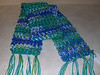 WINTER SCARF - handmade crochet(shown in green-blue multi); double yarn used; 60x5=$20; 60x7=$25; 72x5=$30; 72x7=$35; matching cap =$15; (plus S/H); fringe and pompoms are included unless otherwise stated at no additional charge; will email color choices; perfect for a special gift; shower; birthday; holiday; christmas