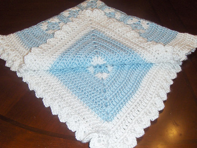 PATTERN B (continued) - Extremely soft baby blanket (shown in 35-inch size in soft blue and white) - This yarn is very very soft with a slight sheen to it - it takes longer and uses more yarn, but worth it - it is adorable!   1. BABY SIZE = 35-inch square = $60 2. CRIB/TODDLER SIZE = 40-inch square = $70 3. SMALL AFGHAN SIZE = 50-inch square = $85 4. LARGE AFGHAN SIZE = 60-inch square = $100 for first 2 colors; $5 for each added color - will email you alternate color choices; matching baby poncho $20; matching cap/booties $15 - LARGER AFGHAN/THROW SIZE AVAILABLE; perfect for a special gift; baby shower; birthday; holiday; christmas (FREE USPS PRIORITY MAIL SHIPPING WITH DELIVERY CONFIRMATION for US customers only; customers outside US must pay all shipping costs)