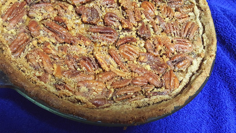 "My Southern Pecan Pie (made with maple syrup & half & half; no white sugar) - Recipe from ""The New Moosewood Cookbook"" - has a nut crust"