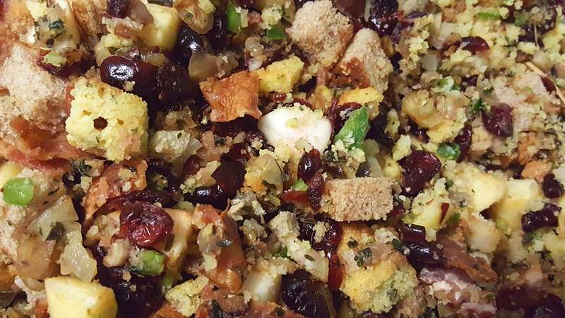 Our turkey stuffing at Thanksgiving - Cornbread, roasted chestnuts, cranberries, bacon, apples...)