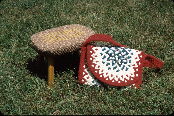 Unusual Braided items - purse and small footstool