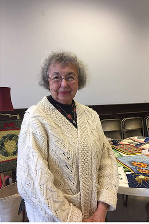 Mary Lacey displaying her Fiber Arts at the 1st Grace Church Craft Show - 11/19/2017