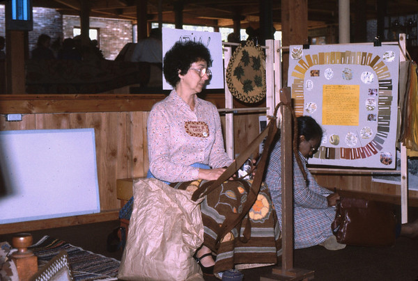 Demonstrating Braiding Wool for use with Braided Rugs