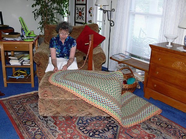 Finishing the latest Braided Rug - June 2012